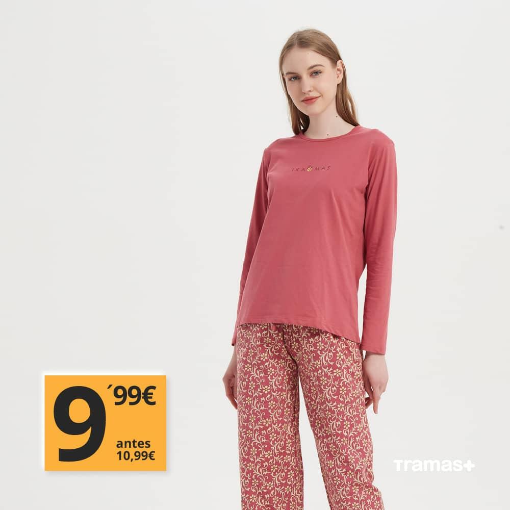 pijama rosa de algodon rebajado tramas+